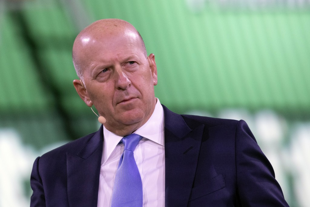 FILE - In this Sept. 25, 2019, file photo David Solomon, Chairman and CEO of Goldman Sachs, speaks at the Bloomberg Global Business Forum in New York....