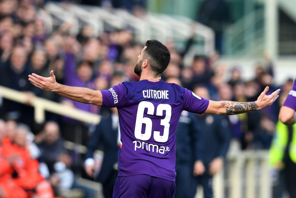 Fiorentina's Patrick Cutrone celebrates after scoring his side's first goal during an Italian Cup eightfinal soccer match, between Fiorentina and Atal...