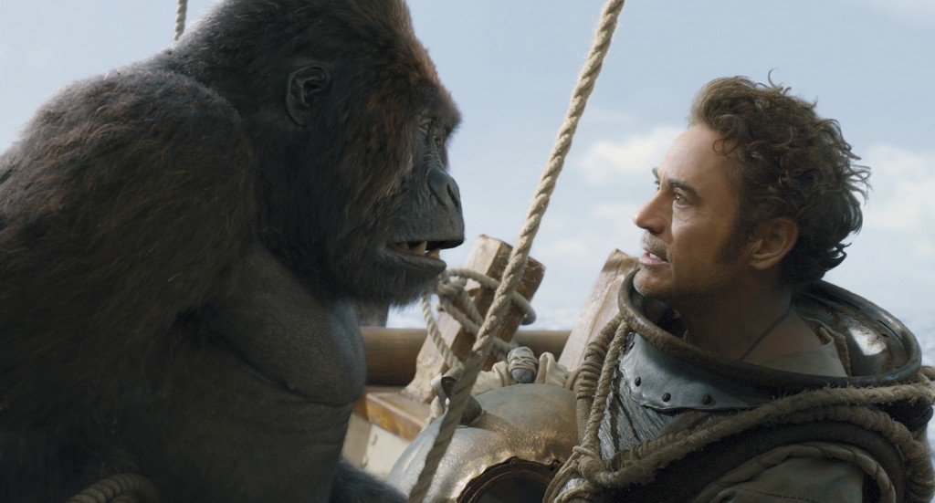This image released by Universal Pictures shows Chee-Chee, voiced by Rami Malek, left, and Dr. John Dolittle, portrayed by Robert Downey Jr. in a scen...
