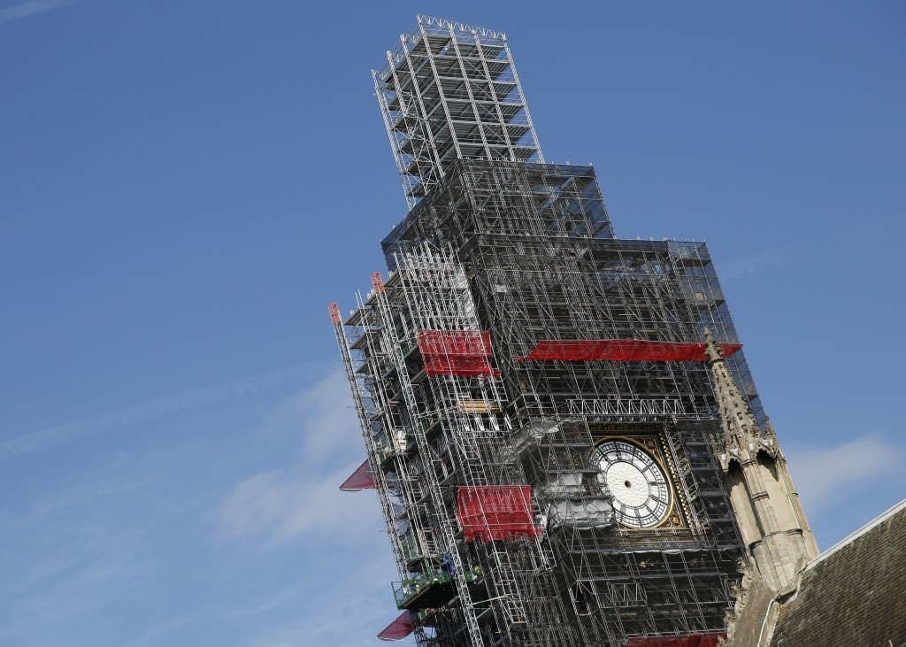 FILE - In this Tuesday, April 17, 2018 file photo, scaffolding surrounds the Queen Elizabeth Tower, which holds the bell known as Big Ben, in London. ...
