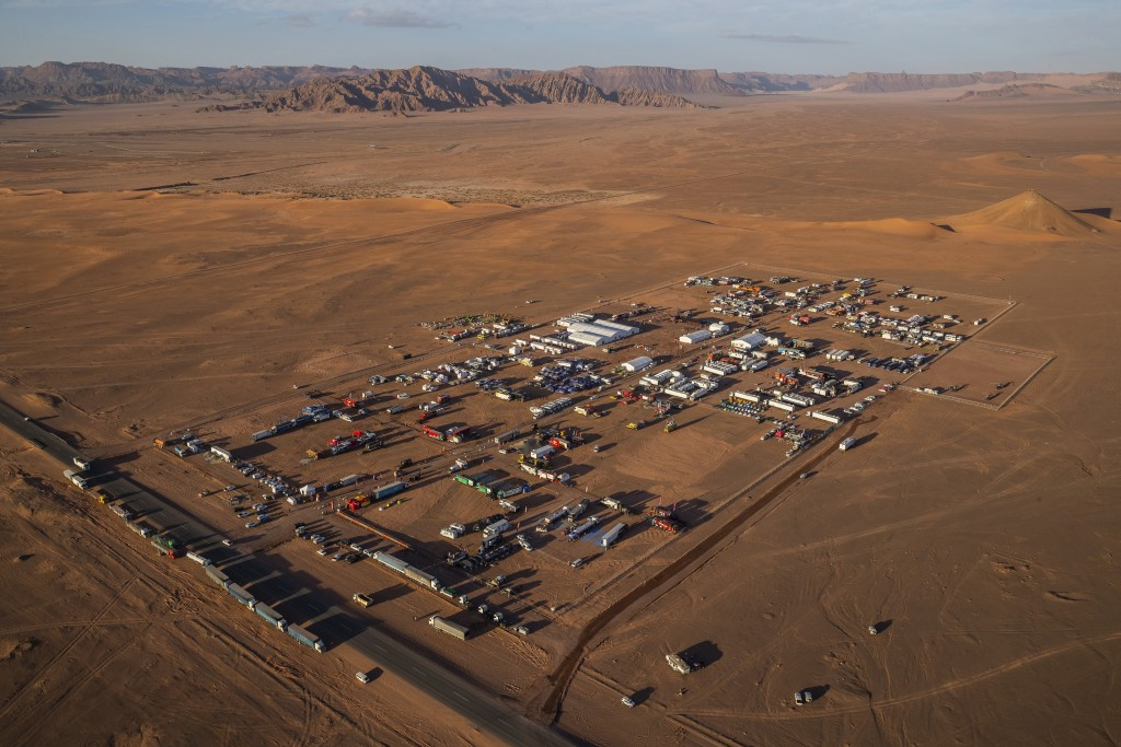 In this Wednesday, Jan. 8, 2020 photo, an overview of the Dakar rally bivouac in Al Ula, in Saudi Arabia. Formerly known as the Paris-Dakar Rally, the...