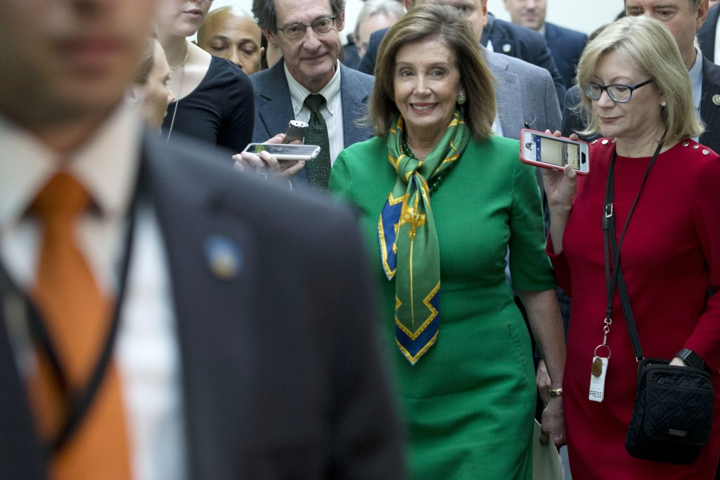 Speaker of the House Nancy Pelosi, D-Calif., leaves a meeting with the Democratic Caucus at the Capitol in Washington, Tuesday, Jan. 14, 2020.  (AP Ph...