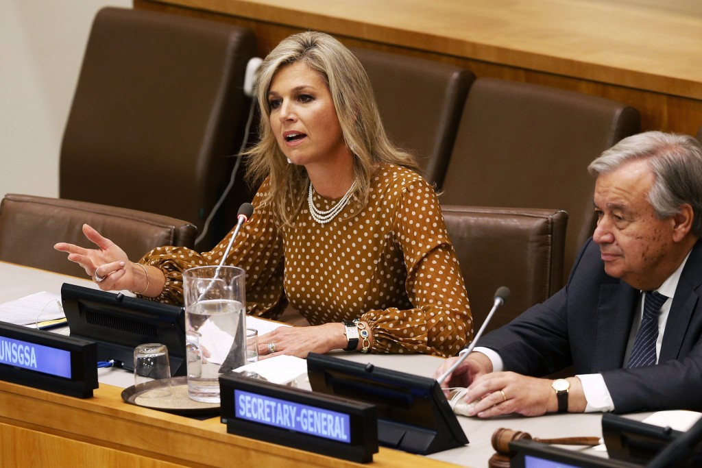 FILE - In this Wednesday, Sept. 25, 2019 file photo, Queen Maxima of the Netherlands is joined by United Nations Secretary-General Antonio Guterres as...