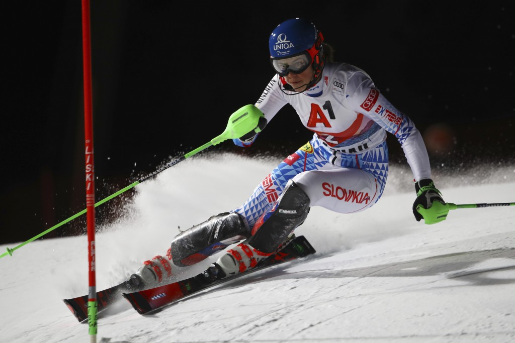 Slovakia's Petra Vlhova competes during an alpine ski, women's World Cup slalom in Flachau, Austria, Tuesday, Jan. 14, 2020. (AP Photo/Marco Trovati)
