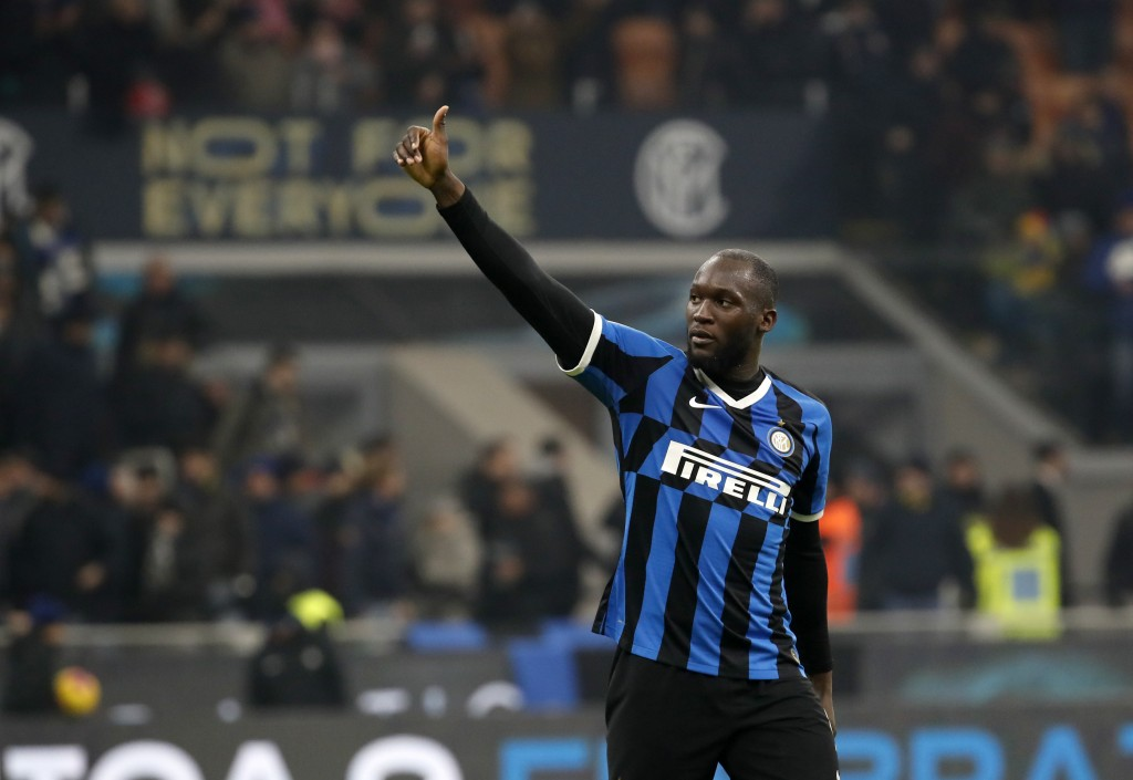 Inter Milan's Romelu Lukaku waves to supporters at the end of the an Italian Cup soccer match between Inter Milan and Cagliari at the San Siro stadium...