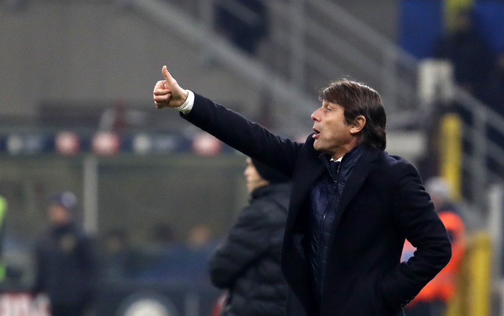 Inter Milan's head coach Antonio Conte reacts during an Italian Cup soccer match between Inter Milan and Cagliari at the San Siro stadium, in Milan, I...