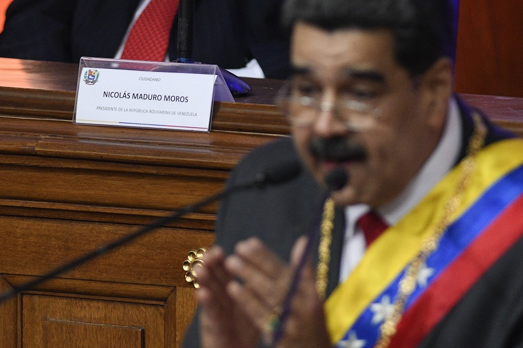 Venezuelan President Nicolas Maduro gives his annual address to the nation inside the chamber of the Constituent Assembly on the grounds of the Nation...