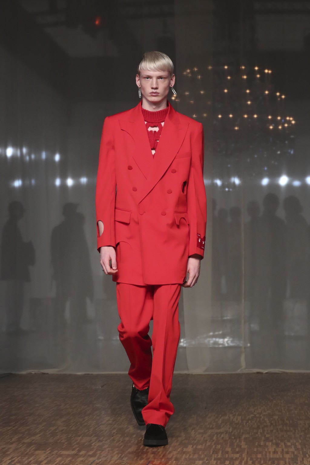 A model presents a creation for Off White Men's Fall/Winter 2019-2020 fashion collection presented in Paris, Wednesday Jan. 15, 2020. (AP Photo/Thibau...