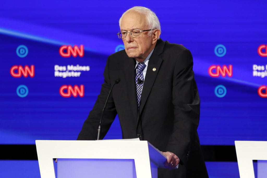 Democratic presidential candidate Sen. Bernie Sanders, I-Vt., listens Tuesday, Jan. 14, 2020, during a Democratic presidential primary debate hosted b...