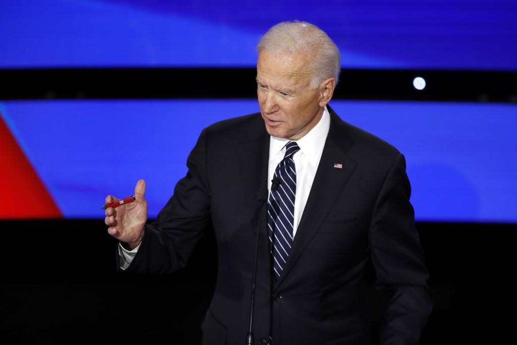 Democratic presidential candidate former Vice President Joe Biden speaks Tuesday, Jan. 14, 2020, during a Democratic presidential primary debate hoste...