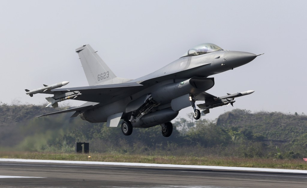 A U.S. made F-16V fighters takes off during a military exercises in Chiayi County, southern of Taiwan, Wednesday, Jan. 15, 2020. Defense Ministry star...