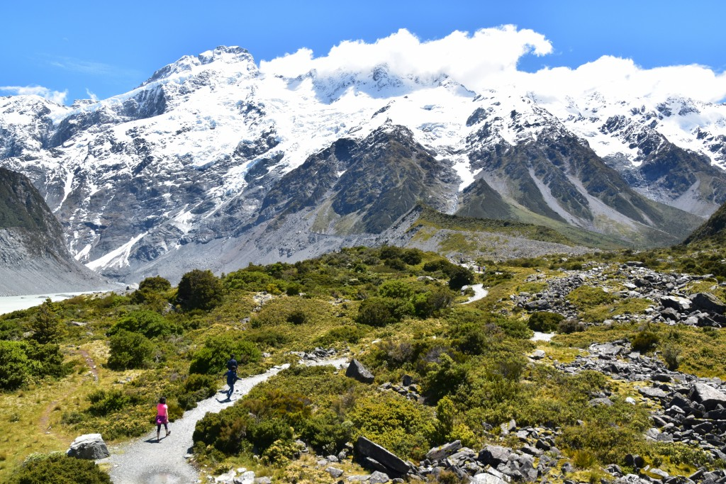 This Dec. 21, 2019, photo shows the Hooker Valley Track that leads to the base of the Hooker Glacier at the bottom of Mt. Cook, New Zealand's tallest ...