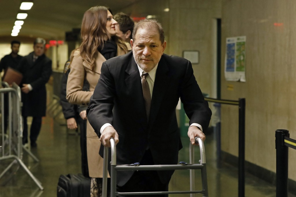 Harvey Weinstein arrives for jury selection in his trial on rape and sexual assault charges, in New York, Tuesday,  Jan. 14, 2020. (AP Photo/Richard D...