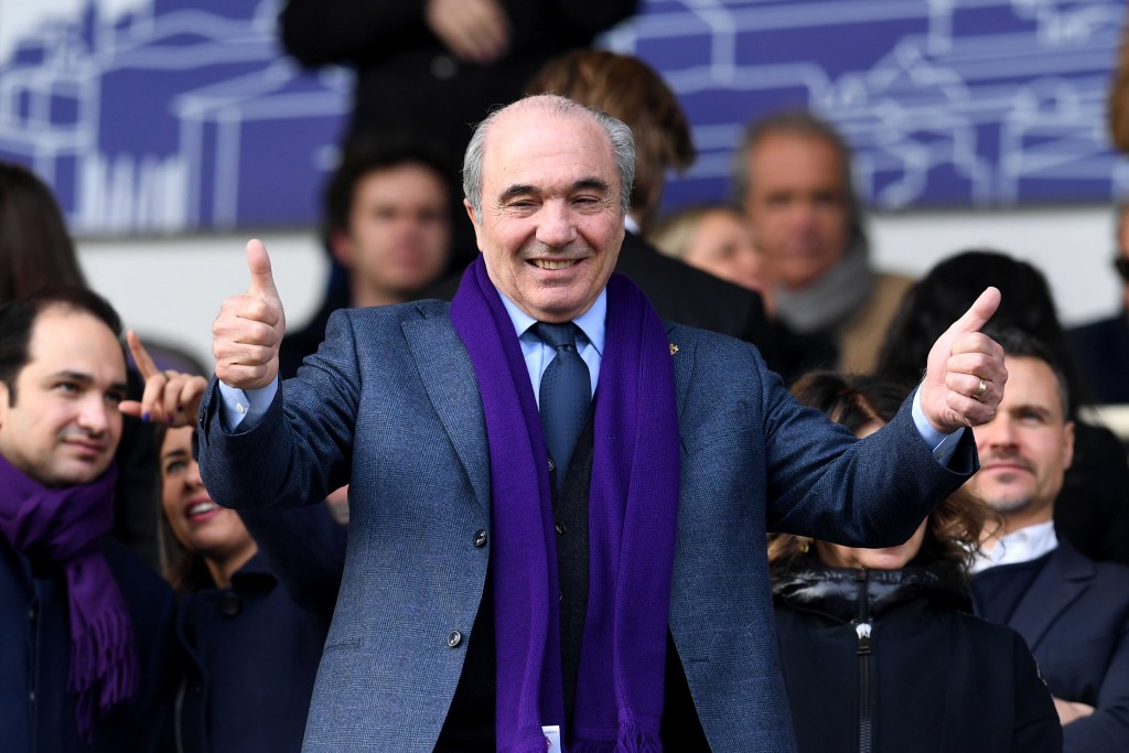 Fiorentina president Rocco Commisso gestures prior to an Italian Cup eightfinal soccer match, between Fiorentina and Atalanta at the Artemio Franchi s...