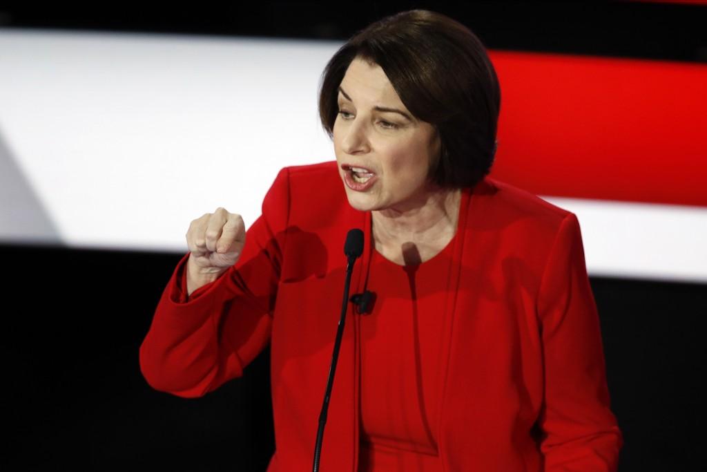 Democratic presidential candidate Sen. Amy Klobuchar, D-Minn., speaks Tuesday, Jan. 14, 2020, during a Democratic presidential primary debate hosted b...