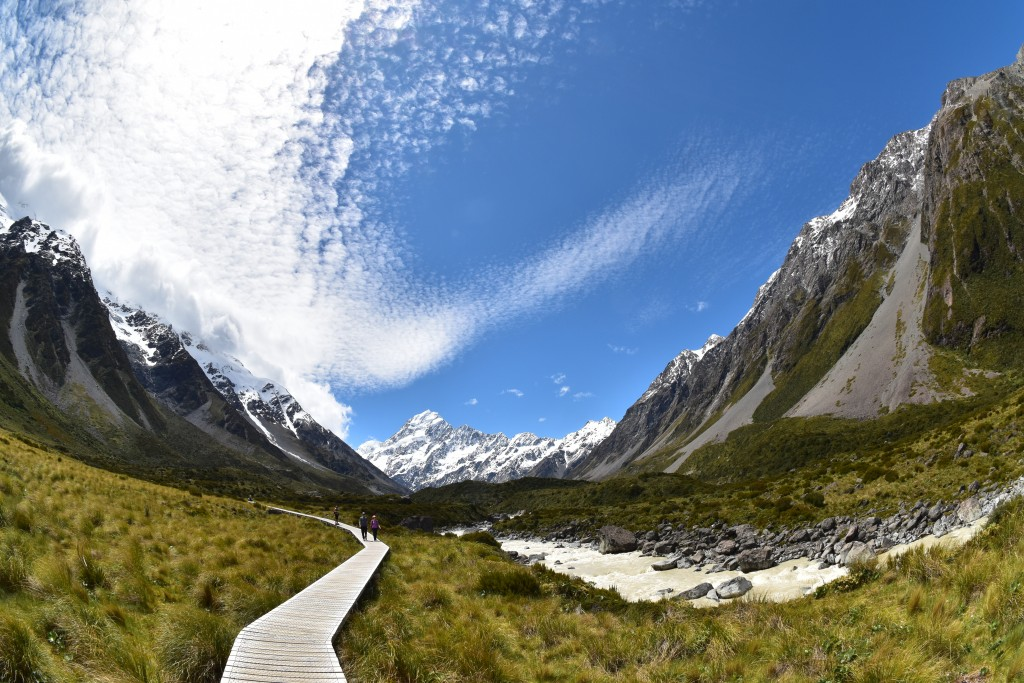 This Dec. 21, 2019, photo taken with a fisheye lens shows Mt. Cook and a boardwalk section of the Hooker Valley Track that leads to Hooker Glacier on ...