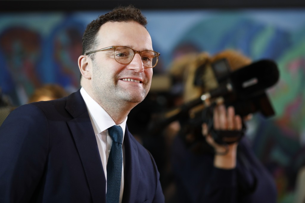 German Health Minister Jens Spahn arrives for the weekly cabinet meeting of the German government at the chancellery in Berlin, Germany, Wednesday, Ja...