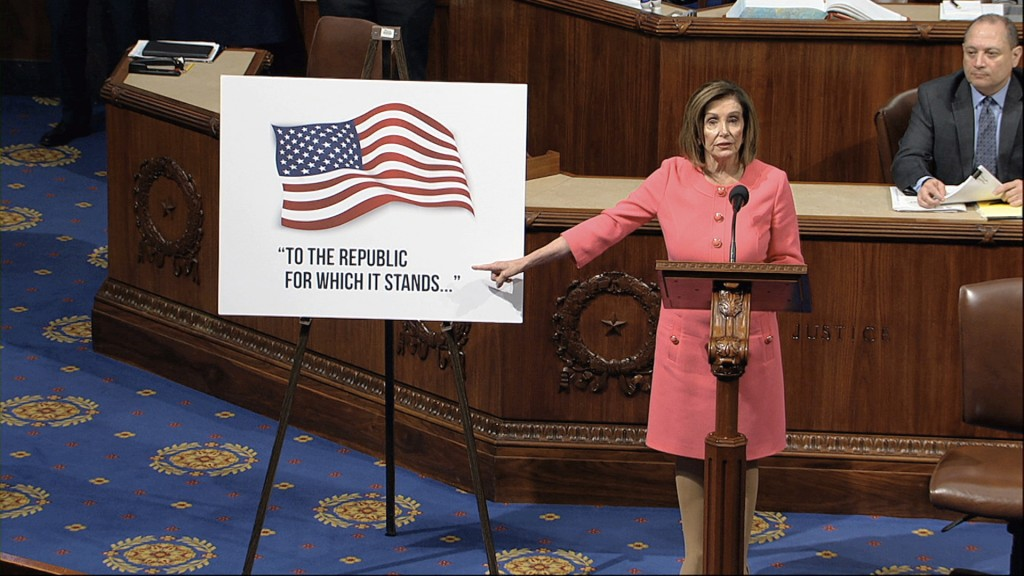 In this image from video, House Speaker Nancy Pelosi of Calif., speaks as the House of Representatives debates the impeachment managers resolution at ...