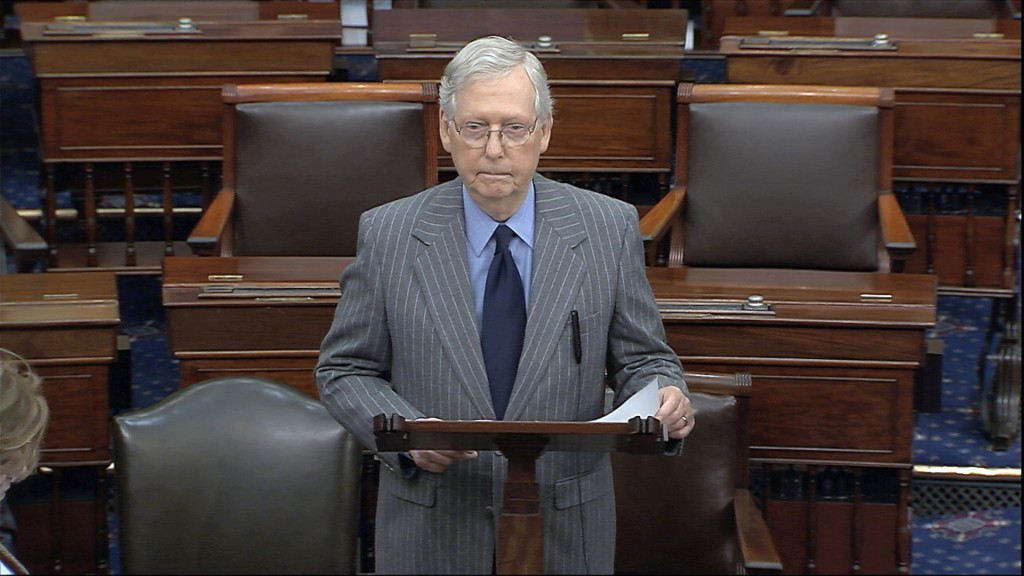 In this image from video, Senate Majority Leader Mitch McConnell of Ky., speaks after the Senate received the articles of impeachment against Presiden...
