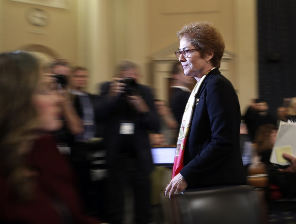 FILE - In this file photo dated Friday, Nov. 15, 2019, former U.S. Ambassador to Ukraine Marie Yovanovitch leaves after testifying to the House Intell...