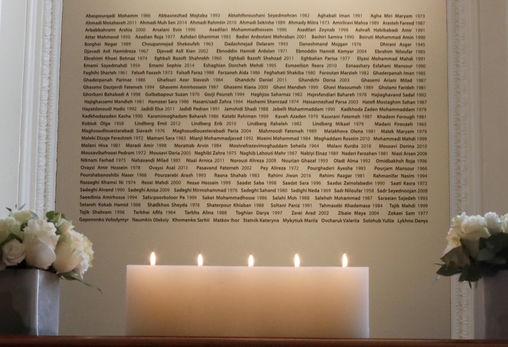 Candles burn in front of a plaque with the names of the victims of flight PS752, at the High Commission of Canada in London, Thursday, Jan. 16, 2020. ...