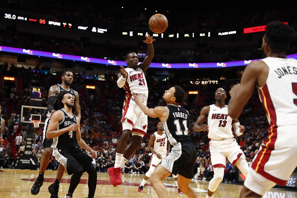 Miami Heat guard Kendrick Nunn (25) jumps up to pass the ball against San Antonio Spurs guard Bryn Forbes (11) in the second half of an NBA basketball...