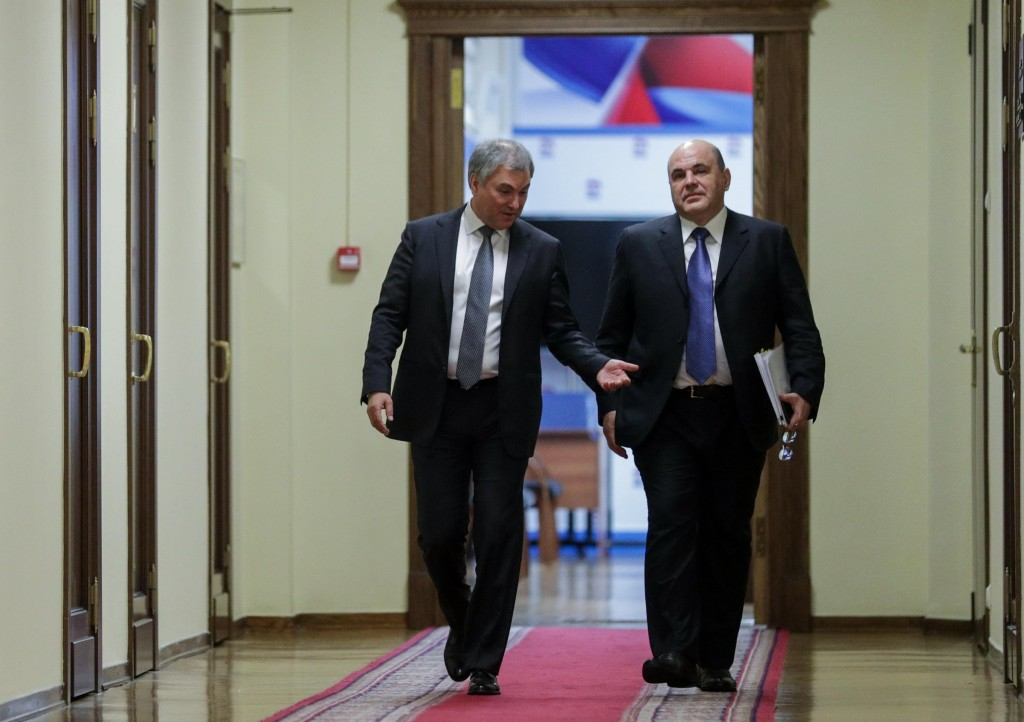 In this photo provided by The State Duma, The Federal Assembly of The Russian Federation, Russian State Duma speaker Vyacheslav Volodin, left, and Rus...