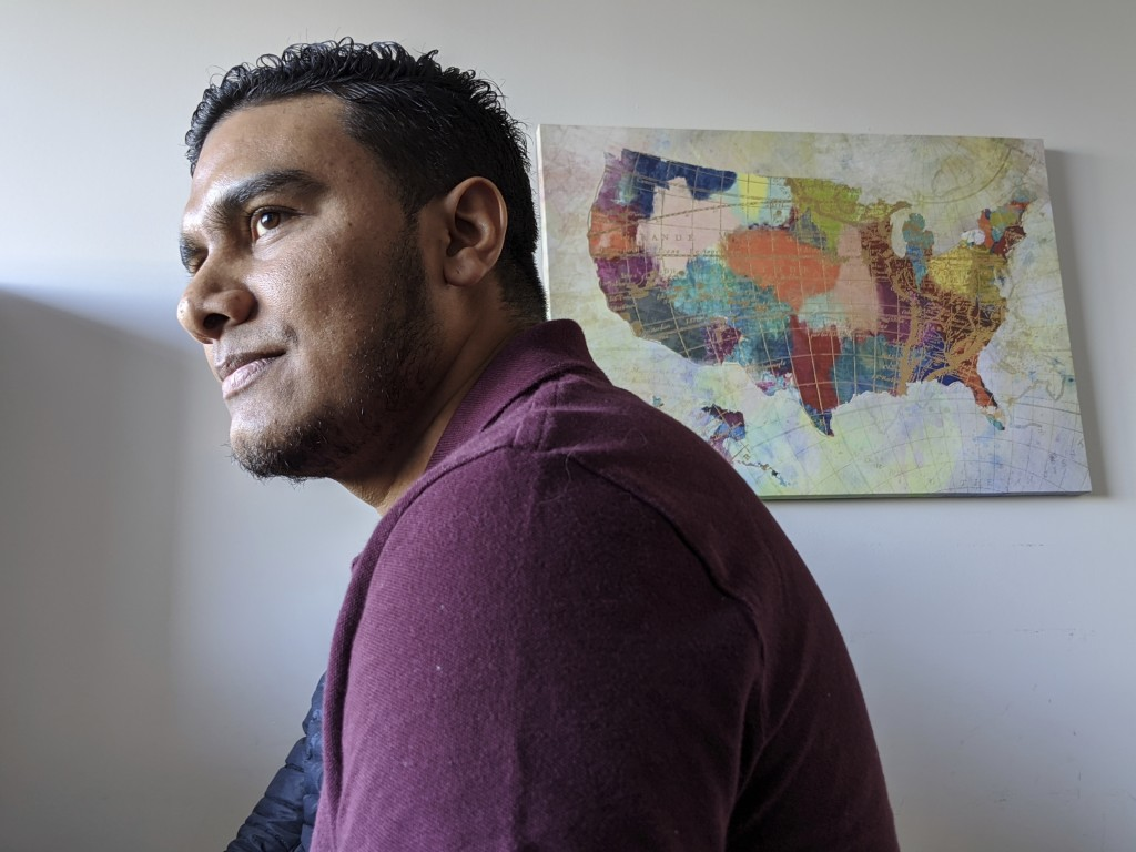 In this Jan. 6, 2020, photo, Michael Navas Gomez, a political activist from Nicaragua, poses for a photo at his attorney's office in Los Angeles. Nava...