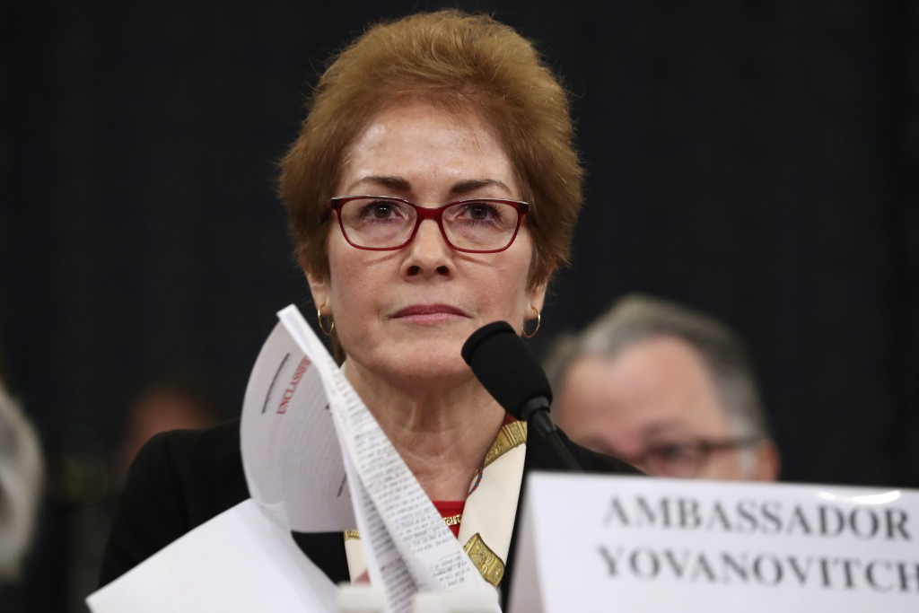 FILE - In this file photo dated Friday, Nov. 15, 2019, former U.S. Ambassador to Ukraine Marie Yovanovitch testifies before the House Intelligence Com...
