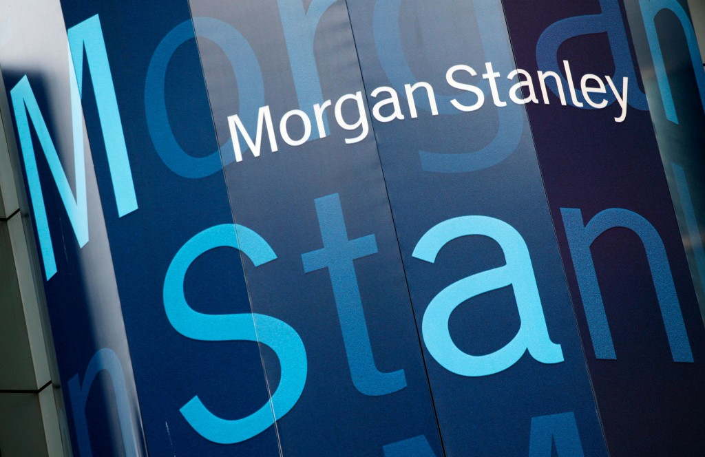 FILE - In this Tuesday, Oct. 18, 2011, file photo, the Morgan Stanley logo is displayed on its Times Square building, in New York. Morgan Stanley repo...