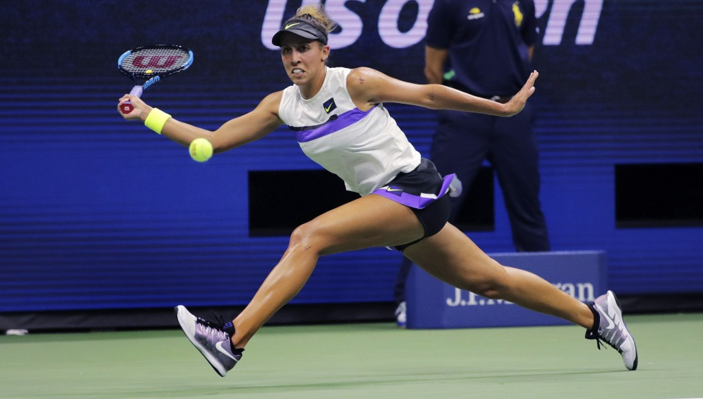 FILE - In this Aug. 30, 2019, file photo, Madison Keys chases the ball on a return to Sofia Kenin during the third round of the U.S. Open tennis champ...