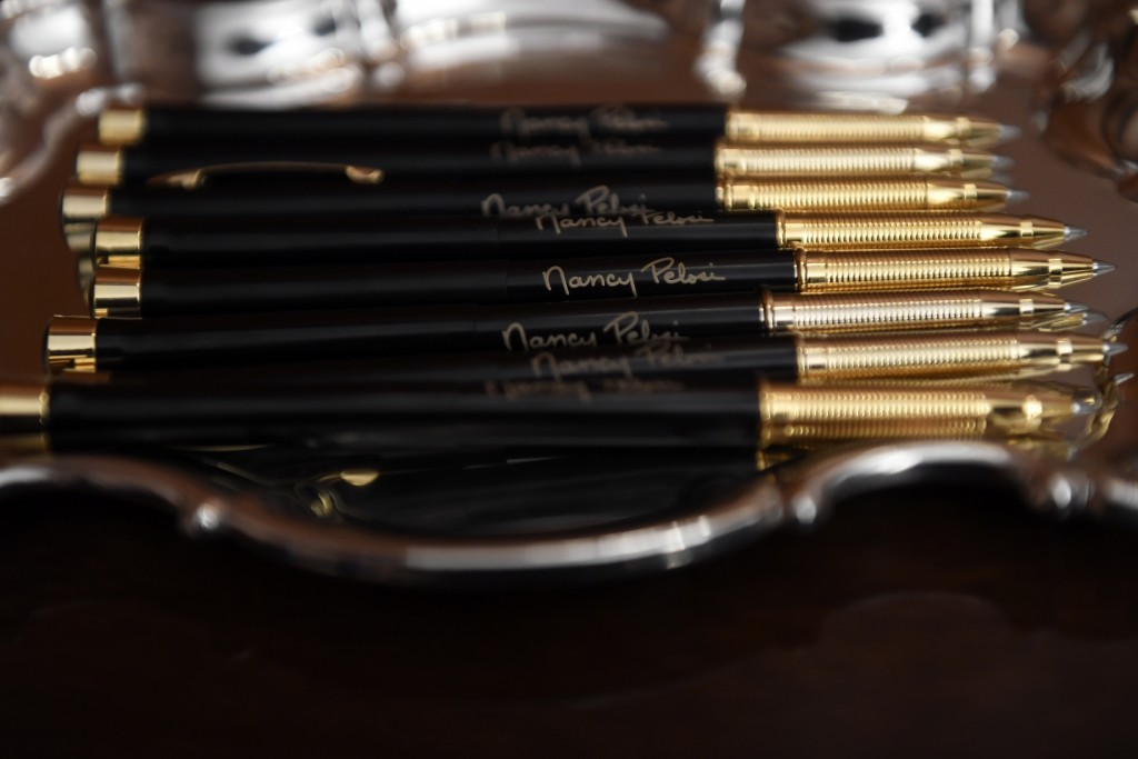The pens that House Speaker Nancy Pelosi of Calif., will use to sign the resolution to transmit the two articles of impeachment against President Dona...