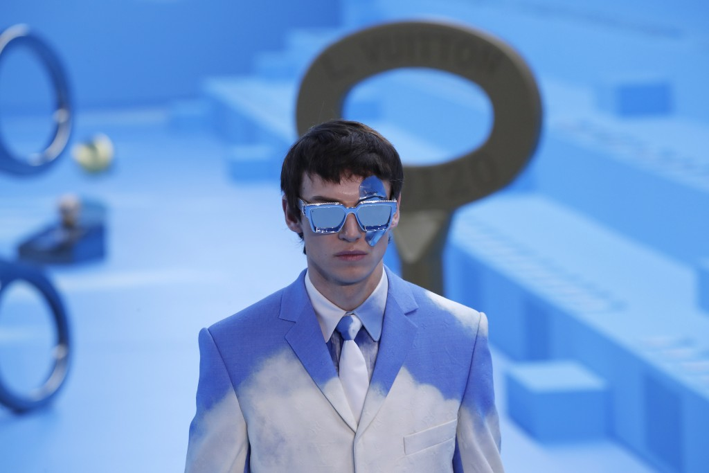 CAPTION CORRECTS THE SEASON A model presents a creation for the Vuitton Mens Fall/Winter 2020-2021 fashion collection presented in Paris, Thursday Jan...