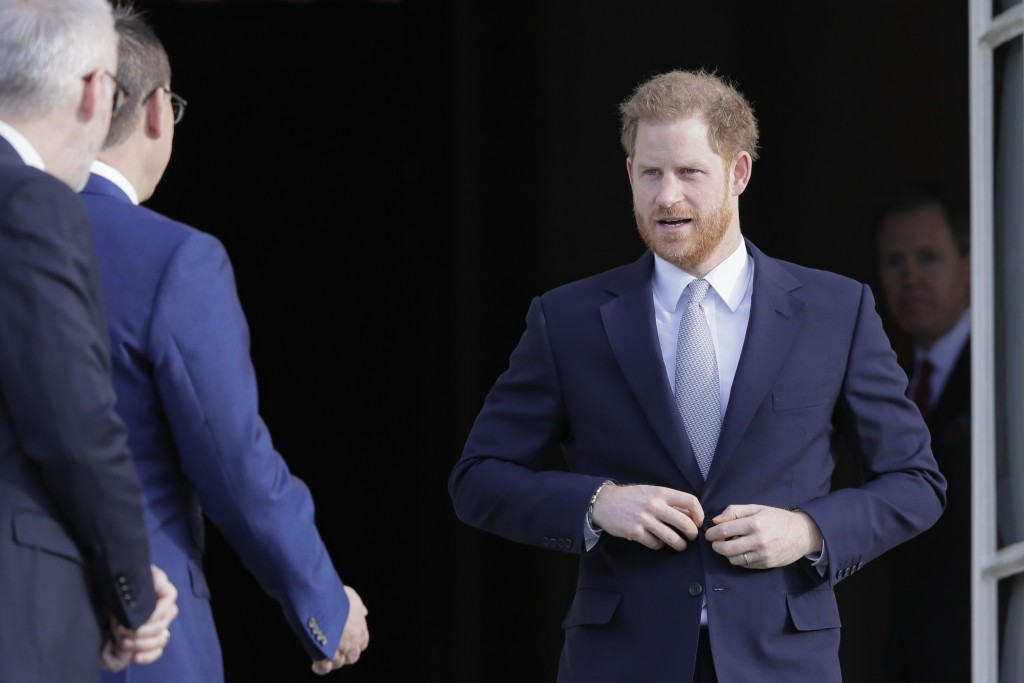 Britain's Prince Harry arrives at the gardens at Buckingham Palace in London, Thursday, Jan. 16, 2020. Prince Harry, the Duke of Sussex will host the ...