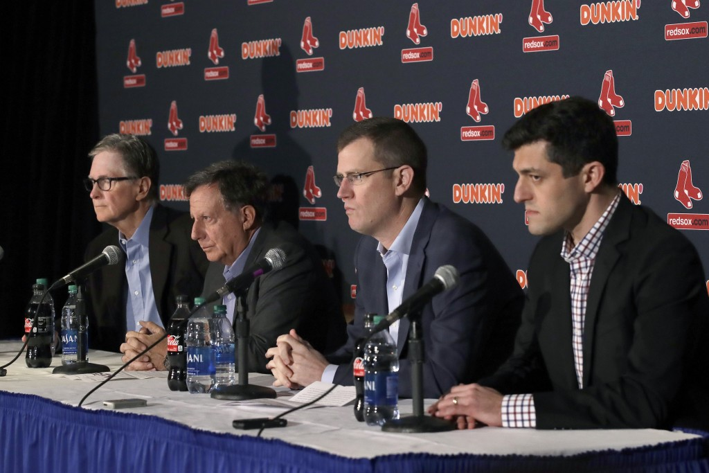 From left, Boston Red Sox owner John Henry, chairman Tom Werner, CEO Sam Kennedy and Chief Baseball Officer Chaim Bloom participate in a baseball news...