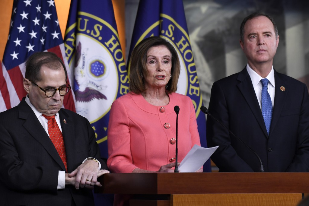 House Speaker Nancy Pelosi of Calif., center, flanked by House Judiciary Committee Chairman Rep. Jerrold Nadler, D-N.Y., left, and House Intelligence ...