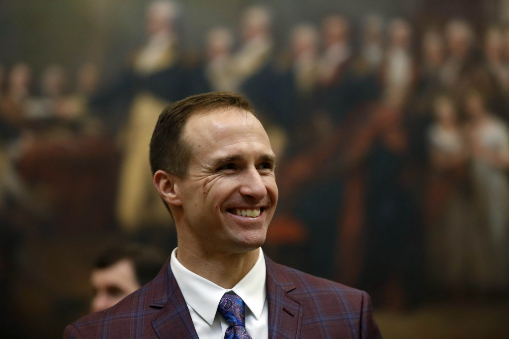 New Orleans Saints NFL football quarterback Drew Brees gets a tour of the rotunda at the Capitol, in Washington, Wednesday, Jan. 15, 2020, before a Co...