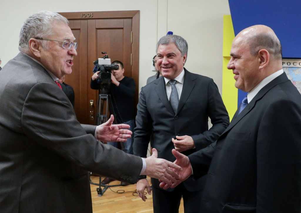 In this photo provided by The State Duma, The Federal Assembly of The Russian Federation, Russian Liberal Democratic Party leader Vladimir Zhirinovsky...
