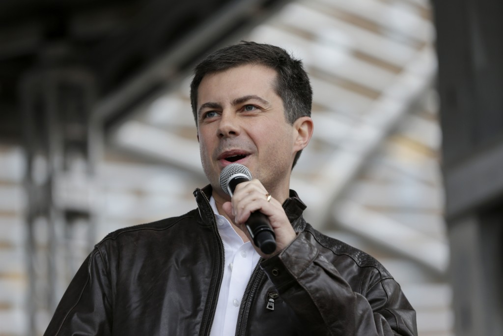 FILE - In this Nov. 1, 2019, file photo, Democratic presidential candidate and then-South Bend Mayor Pete Buttigieg addresses supporters during a rall...