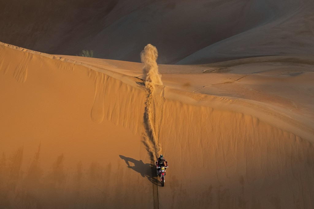 Ricky Brabec, of the United States, rides his Honda motorbike during stage eleven of the Dakar Rally between Shubaytah and Haradth, Saudi Arabia, Thur...