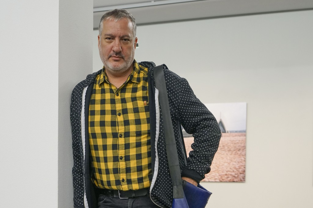 This photo taken Oct. 3, 2019 shows artist Spencer Tunick, a photographer known internationally for his shoots assembling masses of nude people, at th...
