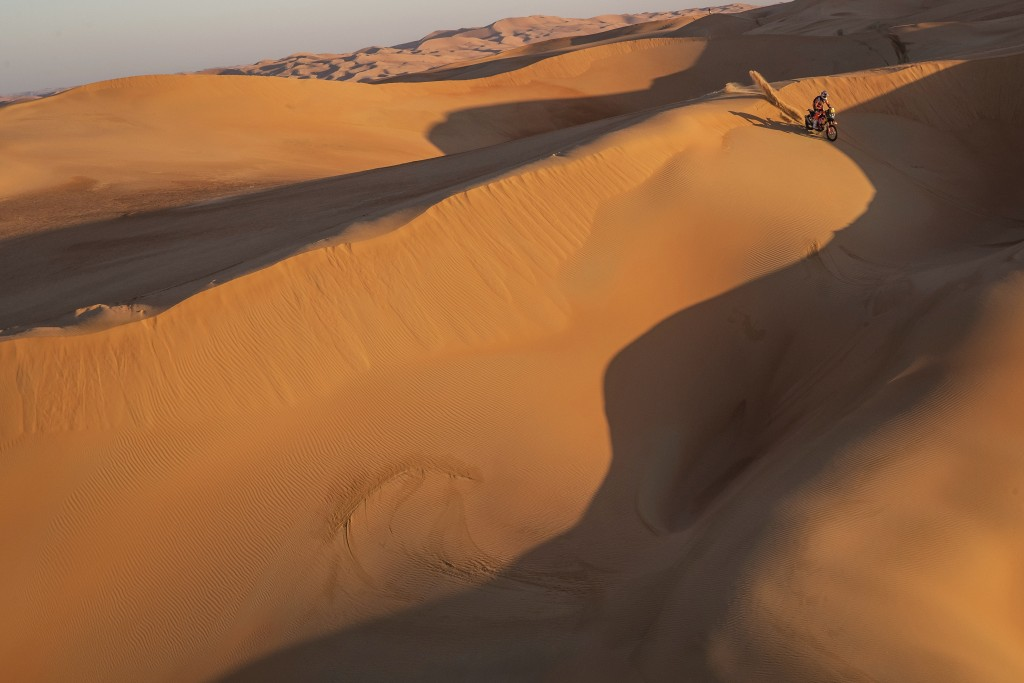 Toby Price of Australia rides his KTM motorbike during stage eleven of the Dakar Rally between Shubaytah and Haradth, Saudi Arabia, Thursday, Jan. 16,...