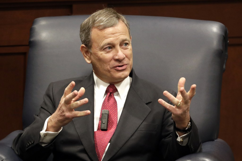 FILE - In this Feb. 6, 2019 file photo, Supreme Court Chief Justice John Roberts answers questions during an appearance at Belmont University in Nashv...