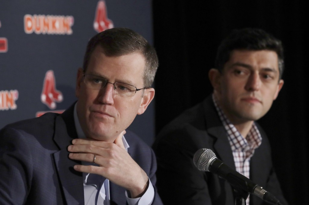 Boston Red Sox team CEO Sam Kennedy, left, and Chief Baseball Officer Chaim Bloom participate during a news conference at Fenway Park, Wednesday, Jan....