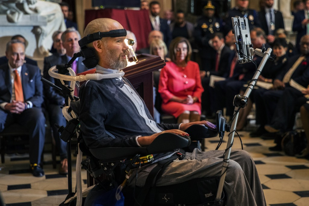 Steve Gleason, amyotrophic lateral sclerosis (ALS) advocate and former National Football League (NFL) player, delivers remarks after being presented w...