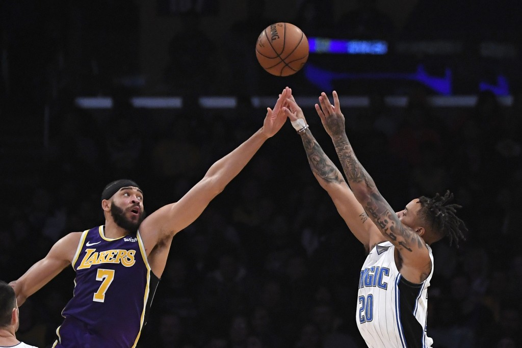Orlando Magic guard Markelle Fultzm, right, shoots as Los Angeles Lakers center JaVale McGee defends during the first half of an NBA basketball game W...
