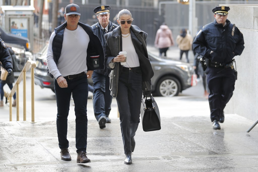 Supermodel Gigi Hadid arrives at a Manhattan courthouse for Harvey Weinstein's jury selection in his trial on rape and sexual assault charges in New Y...