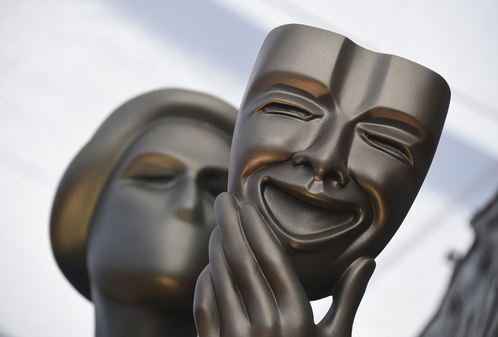 FILE - This Jan. 27, 2019 file photo shows The Actor statue on the red carpet at the 25th annual Screen Actors Guild Awards in Los Angeles. The 26th a...