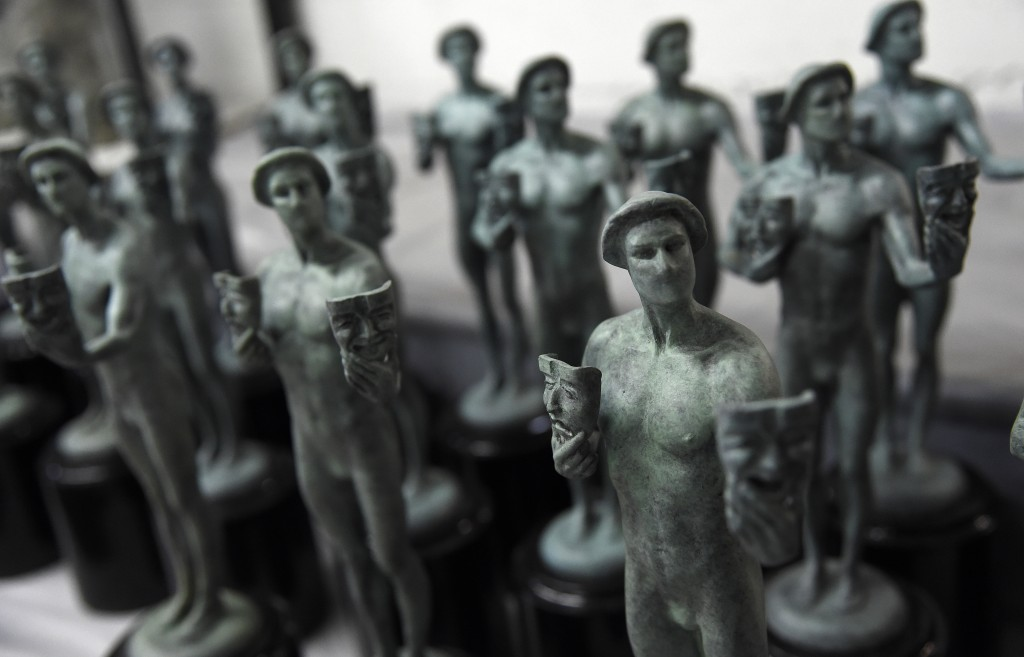 FILE - This Jan. 15, 2019 file photo shows finished Actor statuettes displayed during the 25th Annual Casting of the Screen Actors Guild Awards at Ame...