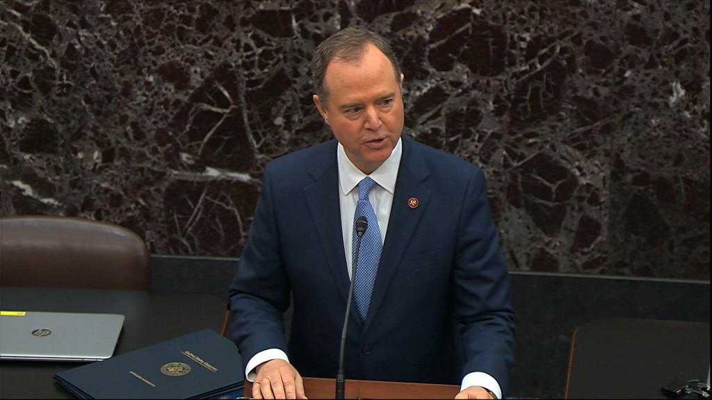 In this image from video, House impeachment manager House Intelligence Committee Chairman Adam Schiff, D-Calif., speaks as the impeachment trial again...